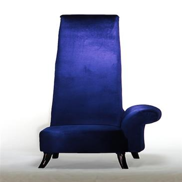 General for store1 Deep Blue Velour Armchair Left