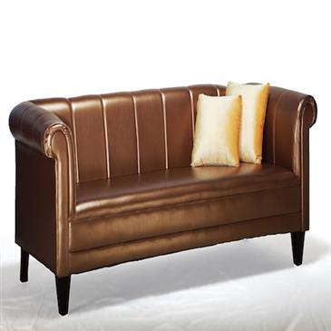 General for store1 Rust/Gold Leather Sofa