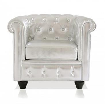 General for store1 Silver Leather Armchair